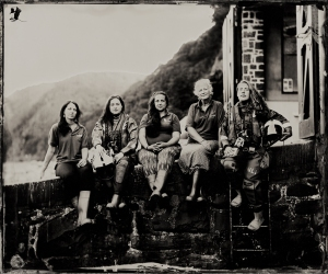 The Lifeboat Station Project: 12x10 inch Ambrotype by Jack Lowe Five women of Clovelly RNLI Lifeboat Station, Saturday 27th June 2015. Left to right: Lauren, Beth, Martel Fursdon, Ally, Joy
